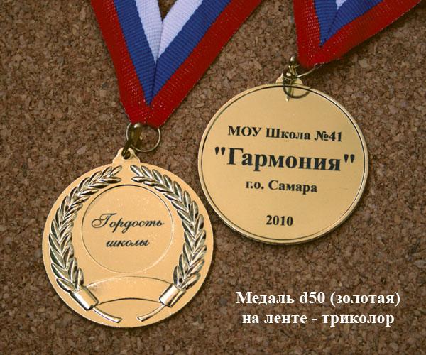 Медаль золотая с гравировкой и лентой